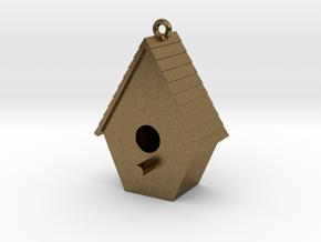 Birdhouse Pendant in Natural Bronze