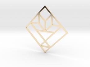 Cactus Basket Quilt Block Pendant in 14K Yellow Gold
