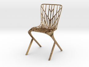 Washington Skeleton Aluminum Side Chair in Natural Brass
