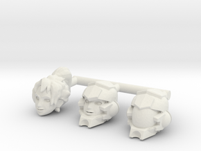 Verity Carlo Heads (Mega Construx) in White Natural Versatile Plastic