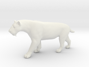 Smilodon Saber-Toothed Cat 1/20 Scale Model in White Natural Versatile Plastic