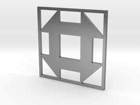 Churn Dash Quilt Block Pendant in Natural Silver