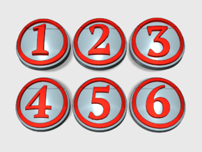 10x Circle Numbers 1-6 : Shoulder Insignia pack in Smooth Fine Detail Plastic