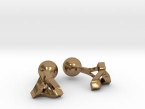 Penrose Triangle Cufflinks in Natural Brass