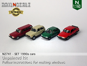 SET 1990s cars (N 1:160) in Smooth Fine Detail Plastic