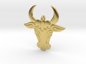 Bull Face Pendant 3D Printed Model in Polished Brass: Medium
