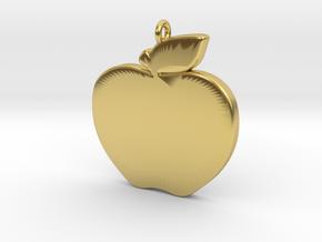 Apple-Pendant-Stl-3D-Printed-Model in Polished Brass: Medium