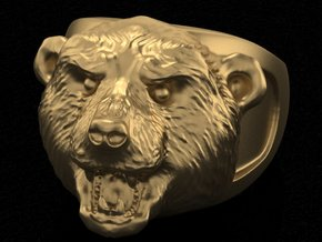 Grizzly bear ring in White Acrylic