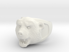 Grizzly bear ring in White Natural Versatile Plastic