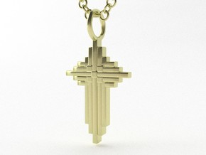 Quilter's Cross Pendant - Christian Jewelry in 14k Gold Plated Brass