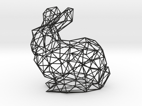 Low Poly Bunny Rabbit Wireframe in Black Natural Versatile Plastic