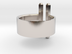 Double Rod Ring in Rhodium Plated Brass: 5 / 49