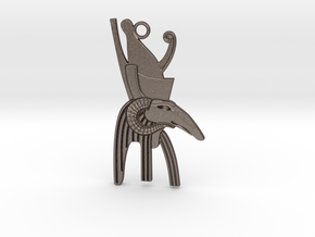 Seth-Amun Bust amulet  in Polished Bronzed-Silver Steel