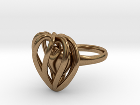 Heart Cage Ring in Natural Brass