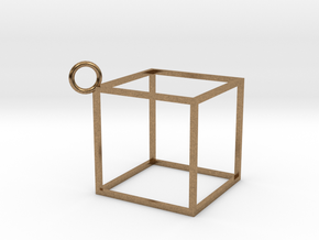 Square Earings - Pendant in Natural Brass