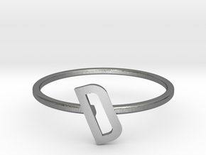 Letter D Ring in Polished Silver: 7 / 54