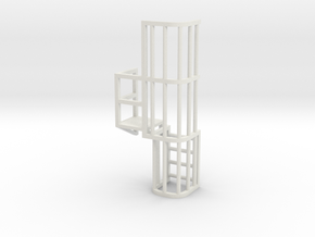 Ladder Cage Platform Left in White Natural Versatile Plastic