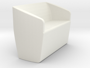 1/12 Scale Livingroom Loveseat in White Natural Versatile Plastic