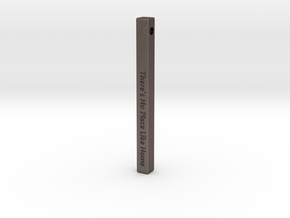 "Vertical Bar Pendant ""There's no place like home"" in Polished Bronzed-Silver Steel"