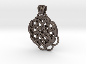 Chain Mail Pendant N in Polished Bronzed-Silver Steel