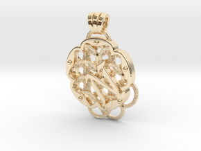 Chain Mail Pendant N in 14k Gold Plated Brass