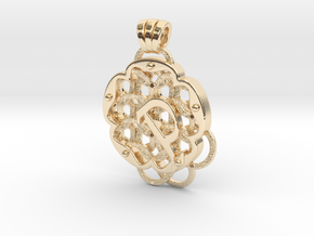 Chain Mail Pendant P in 14k Gold Plated Brass