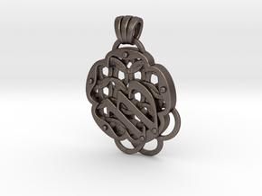 Chain Mail Pendant W in Polished Bronzed-Silver Steel