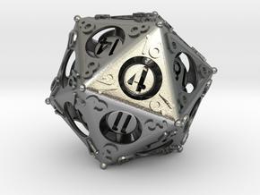 D20 Balanced - Advantage in Natural Silver (Interlocking Parts)