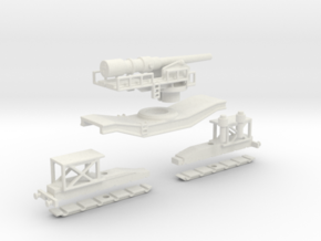 cannon de 240 1/76 oo free wheel railway artillery in White Natural Versatile Plastic