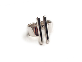Double Rod Ring in Polished Silver: 7 / 54