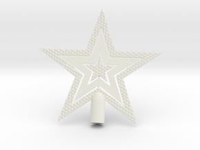 "Star Glisten Tree Topper - 9cm 3½"" in White Natural Versatile Plastic"
