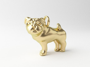 Pug Pendant in 14k Gold Plated Brass