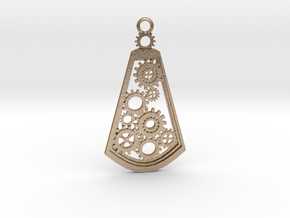 Steampunk pendant (metal) in Polished Gold Steel: Large