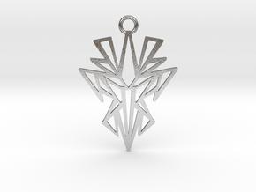 Dark symmetry pendant metal in Natural Silver: Medium