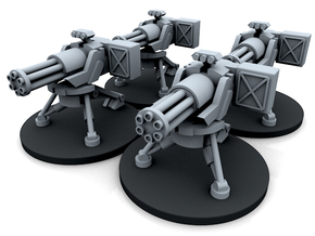 Infantry Gatling Gun Turret - 4 Turrets in Smooth Fine Detail Plastic