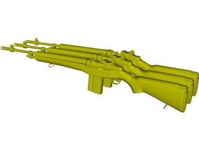 1/15 scale Springfield Armory M-14 rifles x 3 in Smooth Fine Detail Plastic