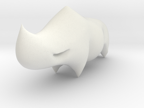 Rhino Sculplture in White Natural Versatile Plastic: 15mm