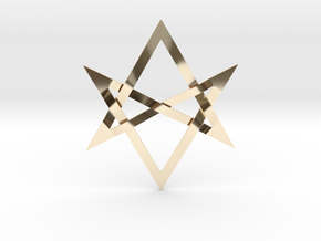 Large Unicursal Hexagram in 14K Yellow Gold
