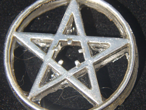 Light up pentacle necklace (front) in Polished Silver