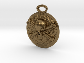 """Concho"" Skull and Crossbones medallion in Natural Bronze"