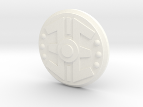 Vintage Size Enforcer Shield in White Processed Versatile Plastic