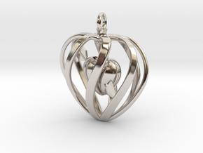 Heart Cage Pendant in Platinum