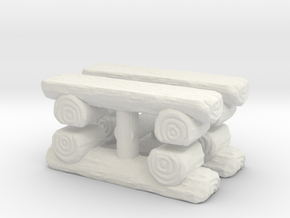 Log Bench (x4) 1/56 in White Natural Versatile Plastic