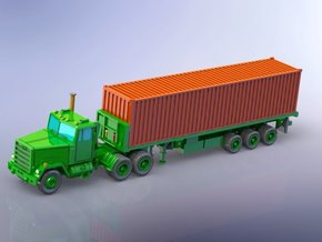 M915 Tractor w. M872 Semitrailer & Container 1/220 in Smooth Fine Detail Plastic