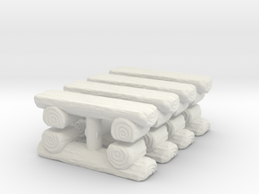 Log Bench (x8) 1/160 in White Natural Versatile Plastic