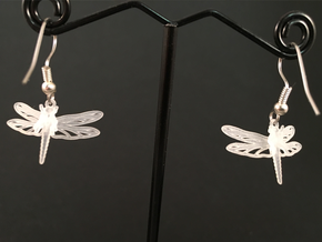 Dragonfly Earrings in Smooth Fine Detail Plastic