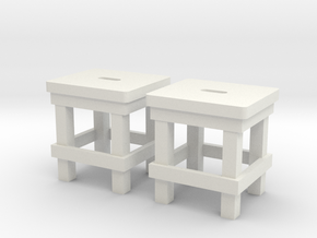 Military Stool - Barracks, Style II - Schemel 1:18 in White Natural Versatile Plastic