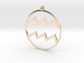 Zodiac pendant Aquarius 21 Jan - 19 Feb in 14k Gold Plated Brass