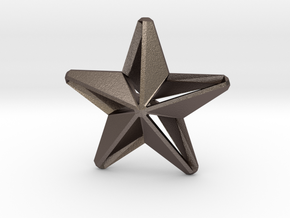 Five pointed star earring assemble Xmas-Medium 2cm in Polished Bronzed-Silver Steel