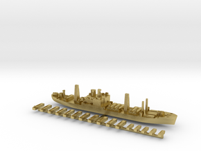 USS Arcturus and landing craft 1:1800 WW2 in Natural Brass